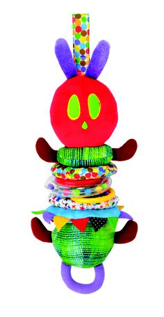 "Jiggler Caterpillar by Kids Preferred- The Developmental Jiggle Caterpillar, a beloved character from Carle's famous The Very Hungry Caterpillar, is twelve inches high, has a pull down body that bounces back up and jiggles as he collapses to regular size.  One mother's five-star review of The Developmental Jiggle Caterpillar on Amazon.com heaped praise, ""We should have bought two, because our boys enjoy this toy so much."""