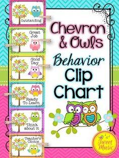 Behavior Clip Chart {Owls and Chevron}