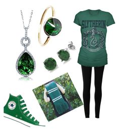 """Slytherin"" by nmackie03 ❤ liked on Polyvore featuring Stefanie Sheehan Jewelry, Max Studio, BERRICLE and Converse"