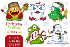Five cute little Christmas monsters. Format: -Vector Ai -Vector Eps -HQ Jpg 2480x3508px 300ppi -Transparent Png 848x1200px 72ppi