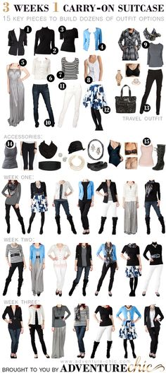 3 Weeks 1 Carry-On Suitcase: never mind a suitcase, I want my whole wardrobe to be this versatile!