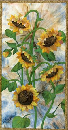 Hand painted fabric art quilt wallhanging Sunflowers