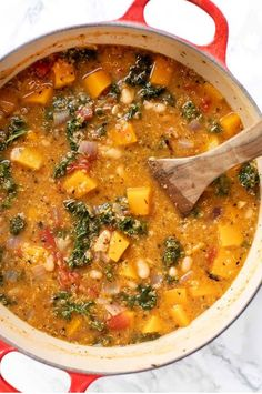 hearty Tuscan Kale White Bean Stew is the perfect cozy vegan/vegetarian meal! With delicious chunks of butternut squash and kale, this homemade one-pot recipe is bound to become a dinner classic! Vegetarian Stew, Vegan Stew, Vegetarian Lifestyle, Vegetarian Recipes, Healthy Recipes, Vegetarian Grilling, Healthy Grilling, Protein Recipes, Vegan Protein