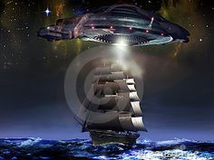 An alien spaceship comes over a big sailboat, in open sea, under  a starry sky.