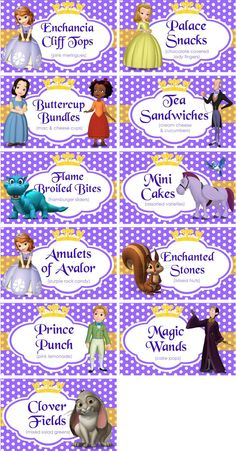 INSTANT DOWNLOAD  Food Labels Disney Sofia by TreFratelliParties, $5.00