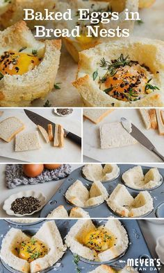 Eggs may be on your plate, but there's no chance of them getting on your face with this perfectly pre-portioned baked eggs in bread nests brunch recipe from @sweetpaul. To make, gently place a buttered slice of bread butter side down into a muffin tin. Follow that by cracking an egg into each. Put all in the oven for ten minutes and serve with a sprinkling of salt, pepper, and thyme. Click through for all the delicious details.