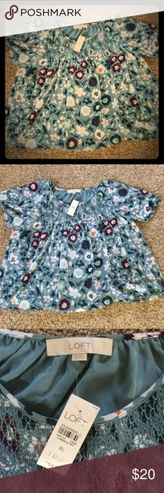 NWT Loft blouse! ❤️ Fully lined flowered Loft blouse has beautiful teal, maroon and orange flower detail. Thought it would fit, but it's a little big. So pretty! ❤️ LOFT Tops Blouses
