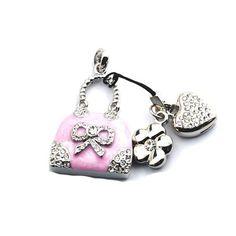 Pendrive Personalizado Jóia - Bolsa rosa com pedras brilhantes R$61.90