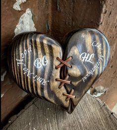 """Aint no hood like motherhood"" custom leather stitched heart wall decor Guitar Wall Hanger, Guitar Display, Heart Wall Decor, Rustic Coat Rack, Arrow Design, Heart With Arrow, Wood Working For Beginners, Wooden Hearts, Custom Leather"