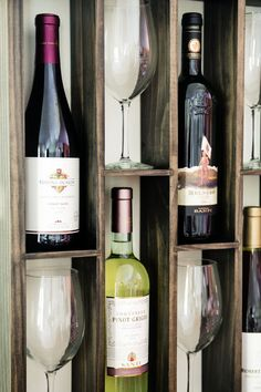 My husband's design-- Wall Mounted Staggered Wine Rack with Wine Glass by WoodChops