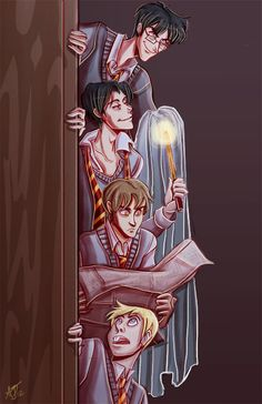 The Marauders: Top to bottom: James, Sirius, Remus, and Peter.