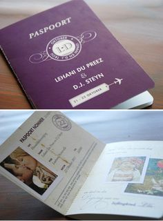 Passport Wedding Invites: I may not be having a destination wedding, but this is adorable. Safari Invitations, Passport Wedding Invitations, Wedding Stationery, Party Invitations, Invite, Wedding Programs, Wedding Cards, Our Wedding, Dream Wedding