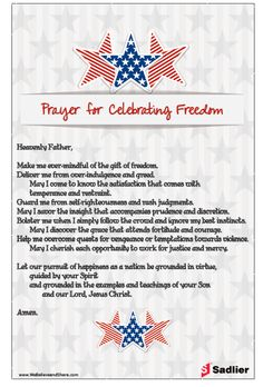 Download a Prayer for Celebrating Freedom to use at home or with your parish!