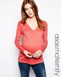 ASOS Maternity Top With V Neck And Long Sleeve