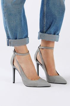 Your search ends here for this seasons sleekest shoe. These grey toe-cap court shoes come with cool strap detail and a skinny high heel. Heel height is approximately Textile. Specialist clean only. Women's Shoes, Prom Shoes, Court Shoes, Me Too Shoes, Shoe Boots, Shoes 2017, Wedding Shoes, Dress Shoes, Pretty Shoes
