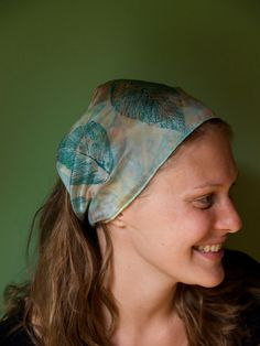 Soft Silk Bandana Style Headband with Natural Design. $15.00, via Etsy.