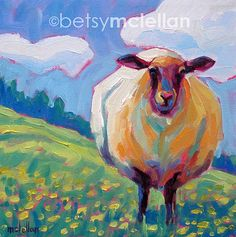 Sheep Original Painting by betsymclellanstudio on Etsy, $35.00