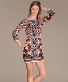 Love this Taupe & Red Tribal Bodycon Dress by Flying Tomato on #zulily! #zulilyfinds