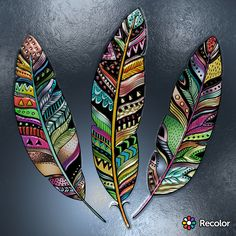 #RECOLOR #RecolorApp Feather Drawing, Feather Painting, Feather Art, Native Art, Native American Art, Painted Leaves, Painted Rocks, Feather Crafts, Leaf Art