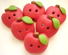 red apple shaped button handmade with polymer clay by JustFingerPrint on Etsy https://www.etsy.com/listing/124382195/red-apple-shaped-button-handmade-with