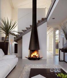 contemporary high freestanding fireplace design | carsmach