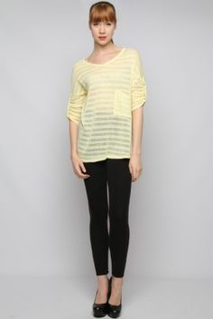 LONG SLEEVE KNIT TOP WITH POCKET AND CUFFS Boutique Fashions at over 50% less