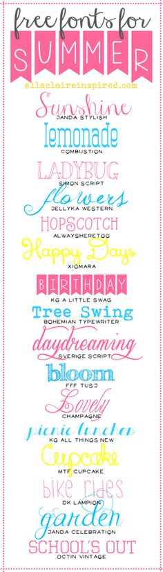 All of this snow and being cooped up while we install new carpet has me longing for sunshine, warmer weather, and playing outdoors! But, for now, lets at least enjoy these adorable and happy fonts I p Cute Fonts, Fancy Fonts, Pretty Fonts, Calligraphy Fonts, Typography Fonts, Sign Fonts, Summer Font, Alphabet Police, Clip Art