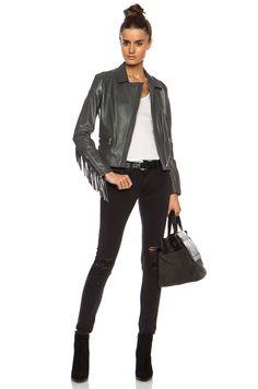ThePerfext Gina Fringe Leather Moto Jacket in Grey | FWRD [7]