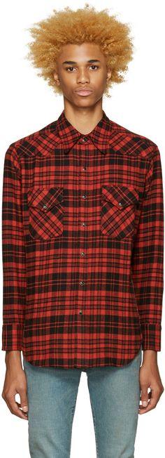Saint Laurent - Black & Red Plaid Shirt #shirts #saintlaurent