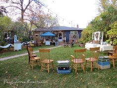 Outdoor 50th Wedding Anniversary Reception 50th Wedding Anniversary, Outdoor Furniture Sets, Outdoor Decor, Event Photos, Reception, Water, Green, Design, Gripe Water