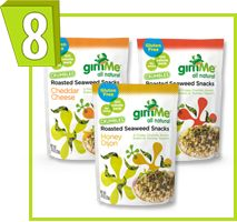 GimMe All Natural Roasted Seaweed Crumbles 1 package: 100 calories, 7 - 9g fat, 220 - 230mg sodium, 6 - 9g carbs, 2 - 3g fiber, 3 - 5g sugars, 2 - 4g protein -- PointsPlus® value 3*