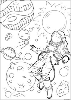 Astronaut In Space Coloring Pages from Astronaut Coloring Pages. Astronaut coloring pages will tell about the men who specialize in flights outside the Earth's atmosphere. The expeditions give the pieces of informat. Space Coloring Pages, Moon Coloring Pages, Printable Adult Coloring Pages, Flower Coloring Pages, Disney Coloring Pages, Coloring Pages To Print, Coloring For Kids, Free Coloring, Coloring Books