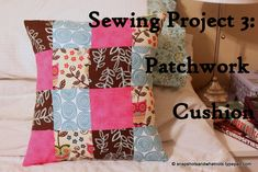 Beginner sewing project - a patchwork cushion with an envelope opening - fun and easy