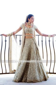 Shop this shiny & shimmering lehenga choli with heavy crystals work. Indian Bridal Lehenga, Indian Bridal Outfits, Indian Bridal Wear, Bridal Dresses, Gold Lehenga Bridal, Pakistani Bridal, Pakistani Dresses, Indian Dresses, Pakistani Suits
