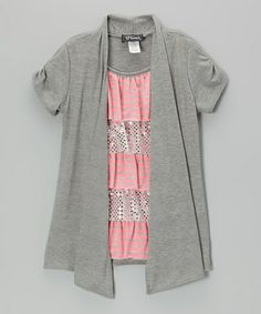 Another great find on #zulily! Neon Pink & Heather Gray Tiered Layered Top - Girls #zulilyfinds