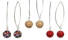Groupon - Sterling Silver Swarovski Elements Dangling Ball Earrings. Multiple Options Available. Free Returns. in Online Deal. Groupon deal price: $15.99