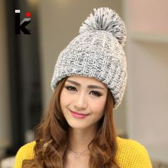 Fashion 2015 Autumn And Winter Female Hats Hot Selling The Knitting Ball Wool Cap Hat Casual Outdoor Cap For Women Free Shopping