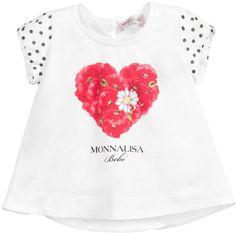Baby Girls White T-Shirt with Silk Sleeves, Monnalisa, Girl