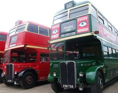 London transport Cravens bodied RT's 1431 (red) and 1499 (green) seen at Brooklands 19/04/15.