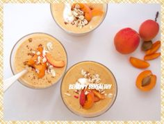 Oatmeal smoothie with apricots and orange juice.  1/4 cup oatmeal 1.5 teaspoons of chia seeds 1 cup unsweetened almond milk 1/4 cup orange juice 1/4 cup low-fat yogurt 1/2 cup dried apricots or 1 cup fresh (canned) 1/2 teaspoon almond extract 1-2 teaspoons honey or other sweetener (to taste)