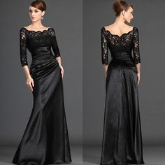 Black Lace Mother of the Bride Dresses Plus Size Long Formal Evening Party Gowns #BallGown #FormalWeddingParty