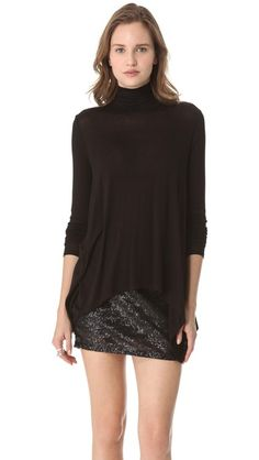Three Dots Draped Turtleneck Tunic Length: 25in / 63.5cm, from shoulder