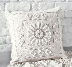 Handmade Crochet Pillow Cover /ecru cotton yarn by dziergalnia, $80.00