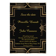 Monogram Save the Date Wedding Cards Wedding Save the Date,black,great-Gatsby,script Card