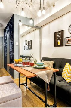 A Condo Unit In Taguig With Fun, Industrial Touches - Ideen finanzieren Small Apartment Interior, Small House Interior Design, Small Apartment Design, Condo Design, Apartment Ideas, Small Condo Living, Condo Living Room, Small Dining, Dining Room