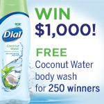 """""""Experience the Ultra-Fresh Hydration of NEW Dial® Coconut Water Body Wash"""" I entered to win. For centuries, women around the world have been using coconut water as a natural remedy to maintain healthy skin. Now, you can, too, with NEW Dial® Coconut Water Body Wash! Register for your chance to win a bottle, or the grand prize of $1,000."""
