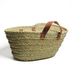 Bag / basket, green with leather handles