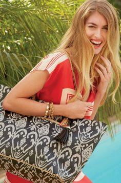 Espresso Brown & White Large Ikat Tote Bag | La Totale Tote | Stella & Dot click to shop @ www.stelladot.com/loriakowalik