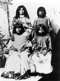 San Carlos Apache women with face tattooing ca 1880 Ryder Ridgway Photographs