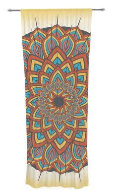 Floral Mandala by Famenxt Sheer Curtain Panel